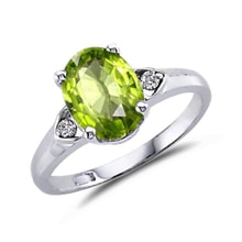 RING WITH PERIDOT AND DIAMONDS - PERIDOT RINGS - RINGS
