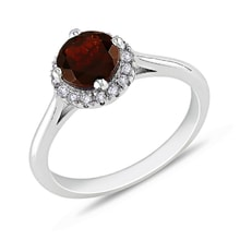 GOLD RING WITH GARNET AND DIAMONDS - WHITE GOLD JEWELLERY - JEWELLERY BY KLENOTA