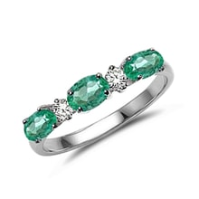 Ring made of white gold with three emeralds - Emerald Rings