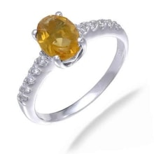 CITRINE RING WITH CZ STONES - CITRINE RINGS - RINGS