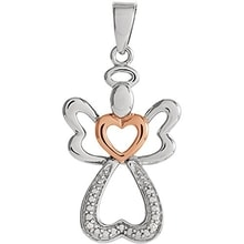 SILVER ANGEL WITH GOLD-PLATED HEARTS - DIAMOND PENDANTS - PENDANTS