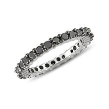 Sterling silver ring with black diamonds - Diamond rings