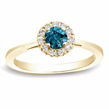 RING WITH BLUE AND WHITE DIAMONDS, WHITE GOLD - DIAMOND RINGS - RINGS
