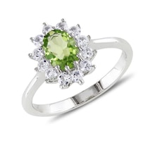 Sterling silver ring with peridot and white sapphires - Halo engagement rings