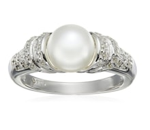 PEARL RING WITH CUBIC ZIRCONIA, SILVER - PEARL RINGS - PEARLS
