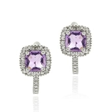 SILVER EARRINGS WITH AMETHYSTS AND DIAMONDS - AMETHYST EARRINGS - EARRINGS