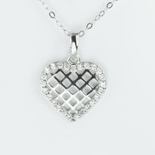 GOLD HEART PENDANT WITH CZ - WHITE GOLD PENDANTS - PENDANTS