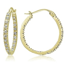 GOLD PLATED EARRINGS WITH CUBIC ZIRCONIA - CUBIC ZIRCONIA EARRINGS - EARRINGS