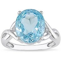 SILVER RING WITH TOPAZ AND DIAMONDS - TOPAZ RINGS - RINGS
