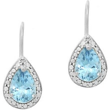 SILVER EARRINGS WITH DIAMONDS AND TOPAZ - DIAMOND EARRINGS - EARRINGS