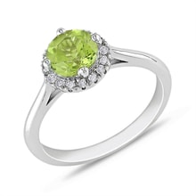 Gold ring with peridot and diamonds - Halo engagement rings