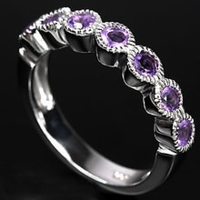 Sterling silver ring with amethyst - Jewellery Sale