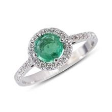 ENGAGEMENT EMERALD RING MADE OF WHITE GOLD - HALO ENGAGEMENT RINGS - ENGAGEMENT RINGS