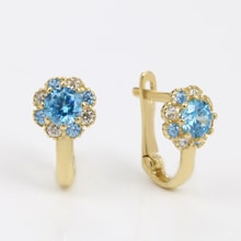 GOLD EARRINGS FOR CHILDREN WITH ZIRCONS - BLUE - JEWELLERY SALE