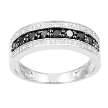 GOLD RING WITH WHITE AND BLACK DIAMONDS - DIAMOND RINGS - RINGS
