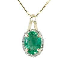 GOLD PENDANT WITH EMERALD AND DIAMONDS - GOLD PENDANTS - PENDANTS