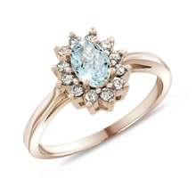 ROSE GOLD RING WITH AQUAMARINE AND DIAMONDS - HALO ENGAGEMENT RINGS - ENGAGEMENT RINGS