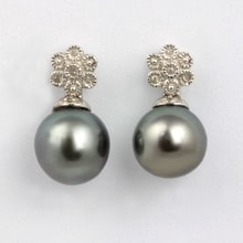 Sterling silver earrings with Tahitian pearls - Tahitian pearls