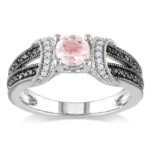 SILVER RING WITH DIAMONDS AND MORGANITE - DIAMOND RINGS - RINGS