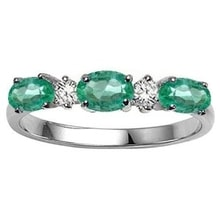 RING MADE OF WHITE GOLD WITH THREE EMERALDS - EMERALD RINGS - RINGS