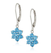 SILVER TOPAZ FLOWERS - TOPAZ EARRINGS - EARRINGS