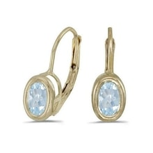 Aquamarine earrings in 14 kt yellow gold - Fine Jewellery