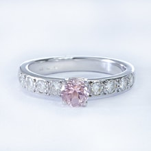 GOLD RING WITH DIAMONDS AND MORGANITE - ENGAGEMENT RINGS WITH GEMSTONES