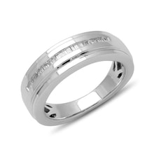 STERLING SILVER MEN'S RING WITH DIAMONDS - MEN RINGS - RINGS