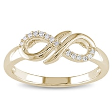 INFINITY GOLD RING WITH DIAMONDS - DIAMOND RINGS - RINGS
