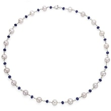 PEARL NECKLACE WITH SAPPHIRES - PEARL NECKLACE - PEARLS