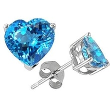 HEARTS SILVER PELLETS INTO THE EARS WITH BLUE TOPAZ - TOPAZ EARRINGS - EARRINGS