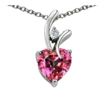 GOLD HEART PENDANT WITH DIAMOND AND TOPAZ - HEART PENDANTS - PENDANTS