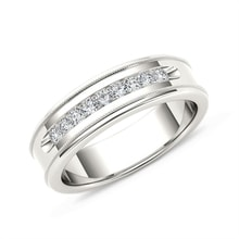 Men's diamond wedding ring in 14kt white gold - Men's Rings