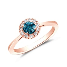 Rose gold ring with blue and white diamonds - Engagement rings with fancy diamands