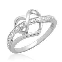 DIAMOND RING HEART - STERLING SILVER RINGS - RINGS