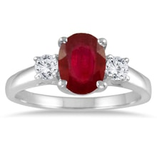 RING OF WHITE GOLD WITH DIAMONDS AND RUBY - ENGAGEMENT RINGS WITH GEMSTONES