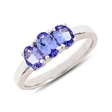 Sterling silver ring with tanzanite 1.08 kt - Tanzanite rings