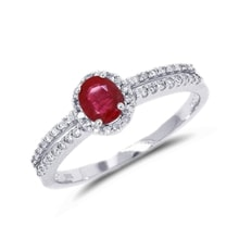 RING MADE OF WHITE GOLD WITH RUBIES AND DIAMONDS - HALO ENGAGEMENT RINGS - ENGAGEMENT RINGS