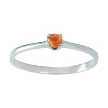 SILVER RING WITH ORANGE SAPPHIRE - SAPPHIRE RINGS - RINGS