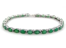 SILVER BRACELET WITH EMERALDS - TENNIS BRACELETS - JEWELLERY BY GEMSTONE