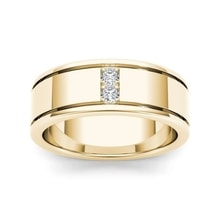 GOLD MEN'S RING WITH DIAMONDS - MEN RINGS - RINGS