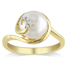GOLD-PLATED SILVER RING WITH PEARL AND DIAMONDS - PEARL RINGS - PEARLS