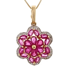 GOLD RUBY ​​PENDANT WITH DIAMONDS - RUBY PENDANTS - PENDANTS