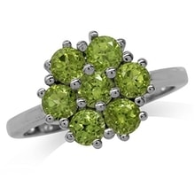 SILVER RING WITH A FLOWER FROM PERIDOT - PERIDOT RINGS - RINGS