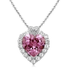 SILVER PENDANT IN THE SHAPE OF A HEART MADE OF SYNTHETIC SAPPHIRES AND DIAMONDS - HEART PENDANTS - PENDANTS