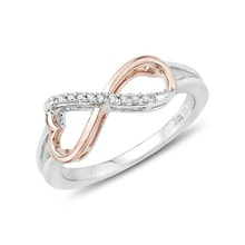 TWO-TONE RING WITH DIAMONDS - DIAMOND RINGS - RINGS