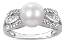 Sterling silver ring with pearl and diamonds Miadora - Pearl rings