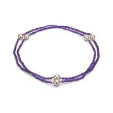 AMETHYST NECKLACE WITH PEARLS - AMETHYST PENDANTS - PENDANTS