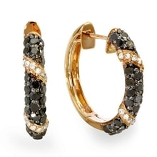 GOLD-PLATED SILVER EARRINGS WITH DIAMONDS - DIAMOND EARRINGS - EARRINGS