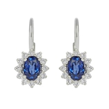 EARRINGS WITH DIAMONDS AND SAPPHIRES - SAPPHIRE EARRINGS - EARRINGS